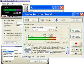 Audio recorder to record audio to MP3, WAV